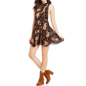 NWT Free People She Moves Black Floral Slip Dress